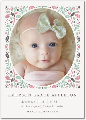 Exquisite Welcome - Girl Photo Birth Announcements - Hello Little One - Basil - Green : Front