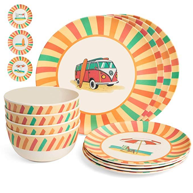 Markket Online Bamboo Dinnerware Set 12 Pieces Camping Kids And Family Reusable Dishes Small And Large Plates Bowls Dinnerware Set Dishware Dinnerware