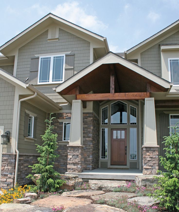 Craftsman style stone veneers columns windows color for Craftsman homes with stone