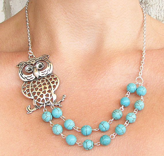 Owl Necklace Owl Jewelry Silver Necklace Turquoise by zafirenia,,,sold on Etzy.com