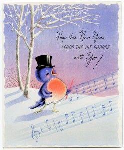 free printable digital image design resource ~ vintage Happy New Year greeting card