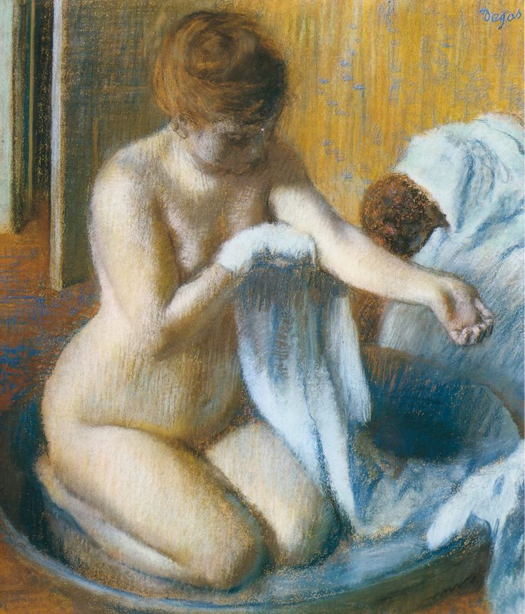 Edgar Degas, After the Bath, 1885-1886 -- His entire bather series is just stunning. I'm obsessed.