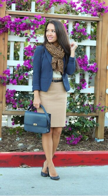 Work outfit. blazer, printed scarf and pencil skirt