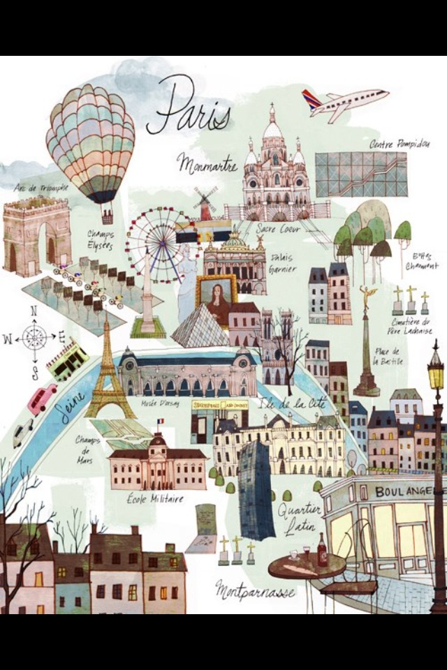 Adorable Paris map. this map is more detailed and is more informative of the attractions of Paris. wide ranged colour scheme.