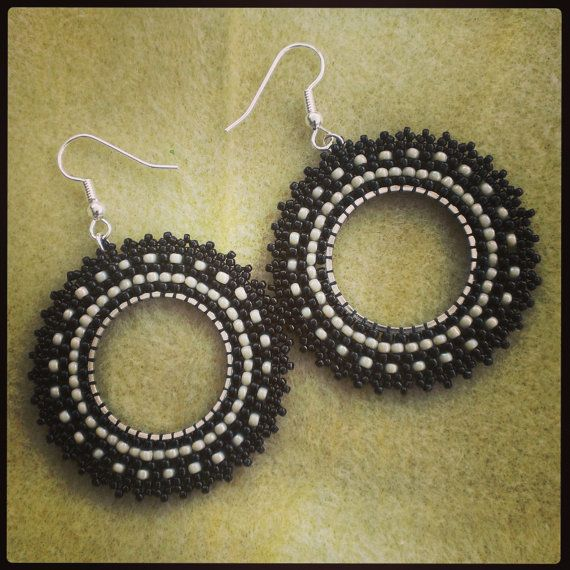 Monochrome :-) Etsy listing at https://www.etsy.com/listing/151551808/hoop-earring-in-black-and-offwhite