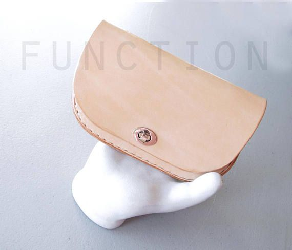 Minimalist Leather Wallet Nude Leather Clutch Hand Stitched