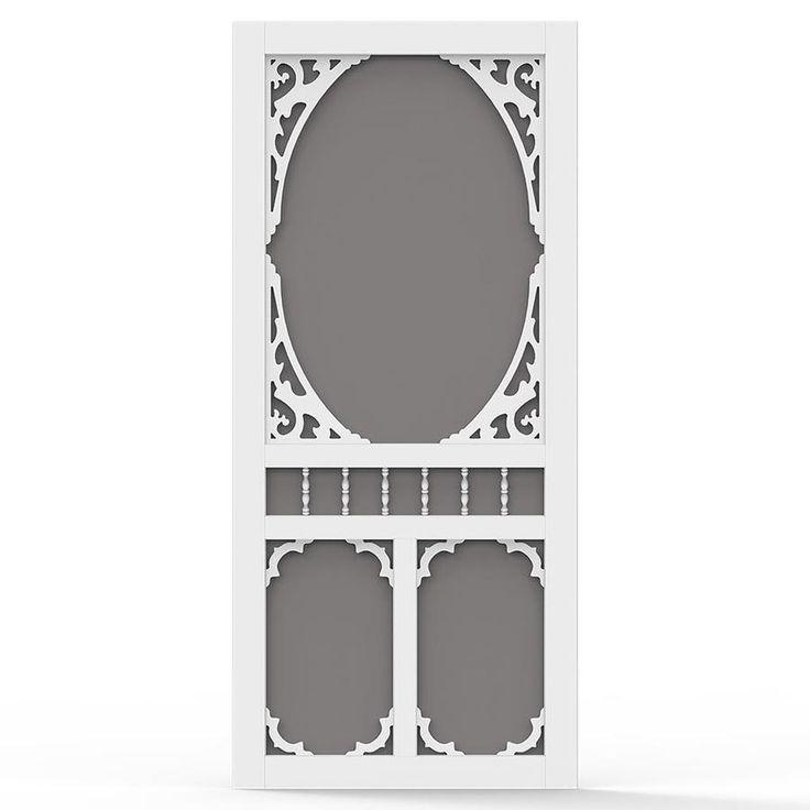 Screen Tight Charlestowne White Vinyl Hinged Decorative Screen Door (Common: 36-in x 80-in; Actual: 36-in x 80-in)