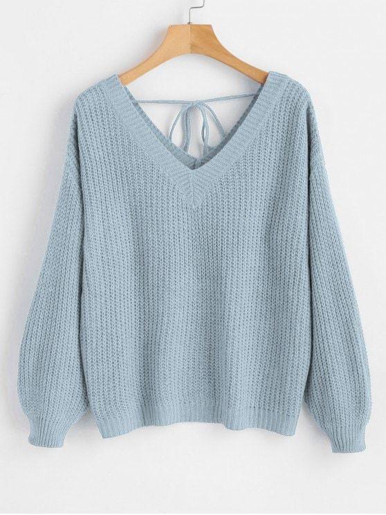 V Neck Drop Shoulder Oversized Sweater - LIGHT BLUE S  ZAFUL  sweaters 5aaee6512
