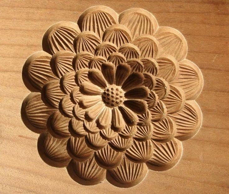 Antique Japanese Kashigata Cake Mold Chrysanthemum Wood Hand Carved | eBay