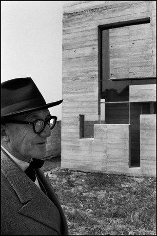 EVEUX, France—Ste.-Marie de la Tourette Dominican monastery. The painter, architect, and city planner Le Corbusier inspecting the building site, 1959. © Rene Burri / Magnum Photos