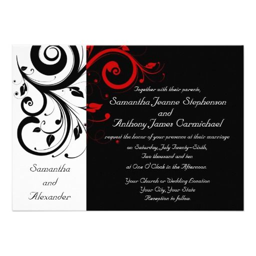 245 best Black Red Wedding Invitations images on Pinterest
