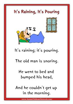it's raining it's pouring nursery rhyme - Google Search