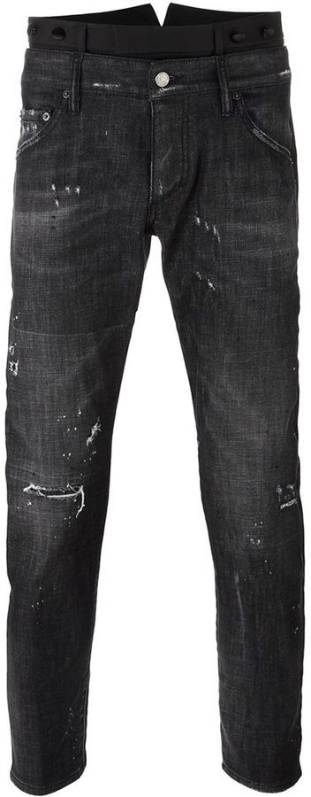 Dsquared2 dual waistband skinny jeans
