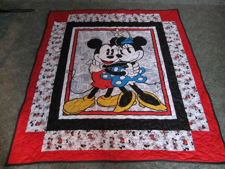 """Mickey and Minnie Mouse Quilt - 49"""" x 55"""" - Mickey Quilt - Minnie quilt - Disney Quilt by TheKingsQuiltShop on Etsy"""
