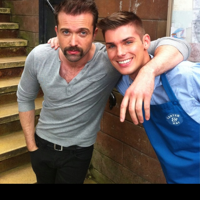 Kieron Richardson (Ste Hay)  and Emmett Scanlan (Brenden) on set #Hollyoaks