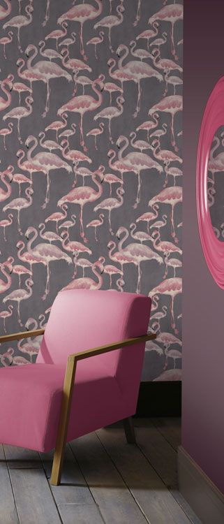 Flamboyant, unusual and a touch kitsch these Flamingos will spark conversation and amusement. The design was created against the current trend for quirkiness and a point of wild difference, the colour palette used follows on with this theme and the addition of texture adds depth and interest. Price shown is per roll. Pattern Match: Straight, Repeat: 52cm, Roll Size: 10.05m x0.52m, Substrate: Non-woven. (Paste the wall) We recommend the use of a ready mixed adhesive