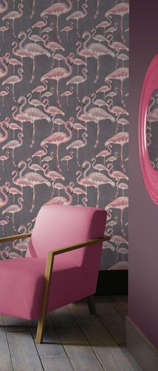 Flamingo Beach Marshmallow Designer Wallpaper