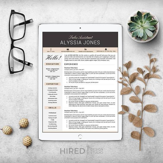 Creative, modern & Professional Resume, CV template for Word: ALYSSIA Instant download Resumes + Matching Cover letter + references Sheet + icon set + free resume writing guide with tips and samples - Fully Editable. Very easy to use templates: Simply click on the text and start