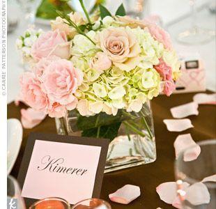 hydrangea centerpieces | Pink and White Hydrangea Centerpieces | Reception