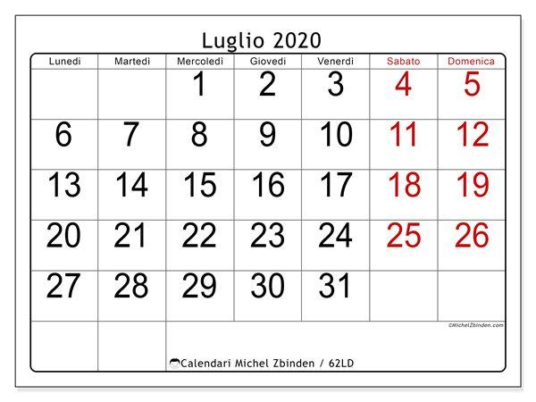 Calendario 62ld Luglio 2020 Da Stampare Nel 2020 Calendario Calendari Mensili Calendario Stampabile Gratis