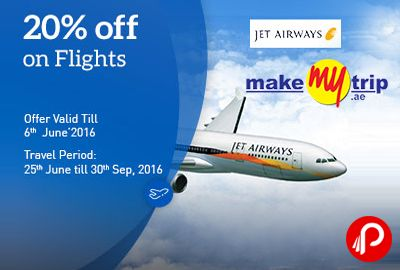 MakeMyTrip brings #JetAirwaysSale and offering Upto 20% off on #Flights. #Book Validity: Till 6th June, #Travel Validity: 25th Jun 2016 till 30th Sep 2016. Up to 20% #discount is applicable on base fare in Economy on #flights within India operated by #JetAirways.  http://www.paisebachaoindia.com/jet-airways-sale-upto-20-off-on-flights-makemytrip/