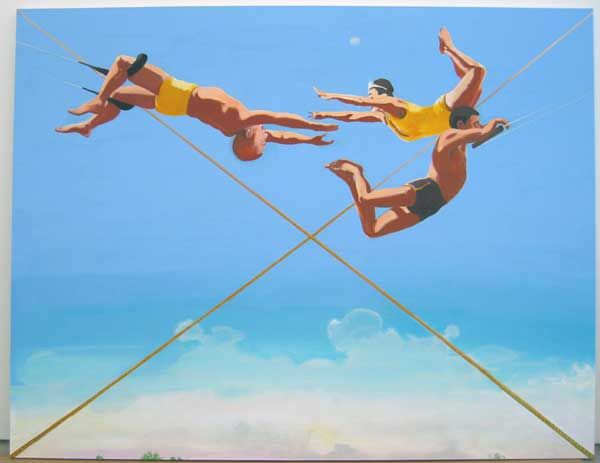 Artist: Verne Dawson, Three Aerialists, 2004, New York, Oil on canvas, 96 x 124 inches