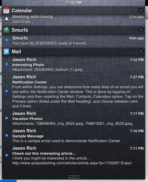 Apple notification center