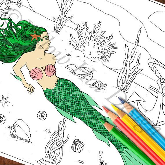 Mermaid Coloring Page Under the Sea Coloring Page Anchor