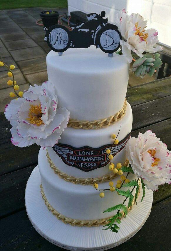 Wedding cake. Harley Davidson. Sugar peony.