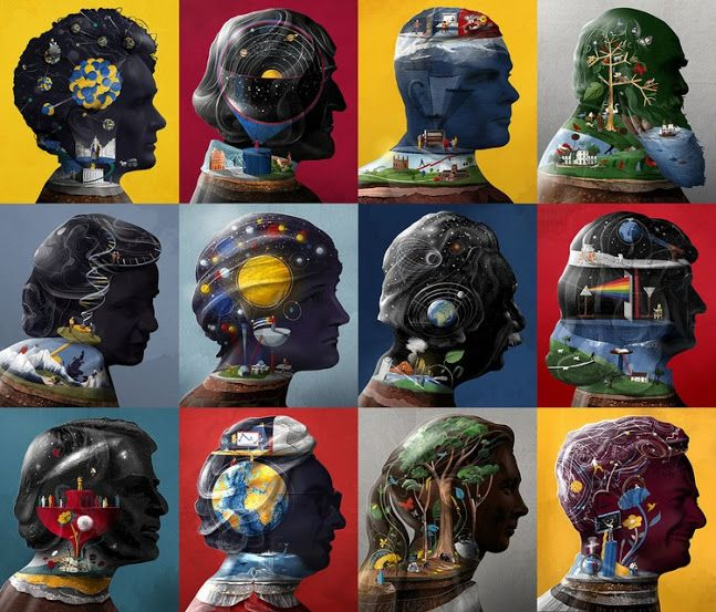插畫家 Sam Falconer 為你剖析科學巨星們的大腦 Scientific Greats