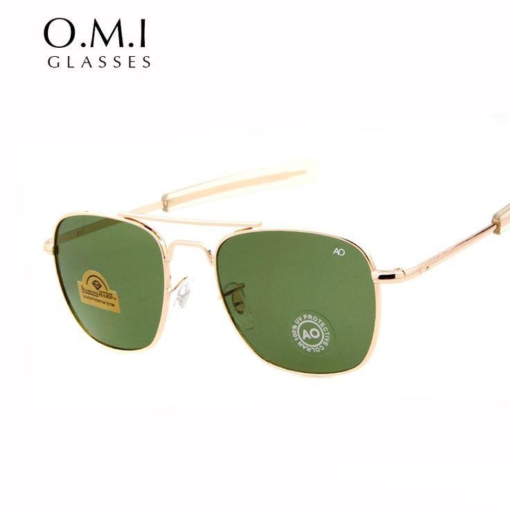 Brand New Army MILITARY AO Sunglasses Men American Optical Aviator Lens 12K Gold Plated James Bond Pilot Sun Glasses oculos 286