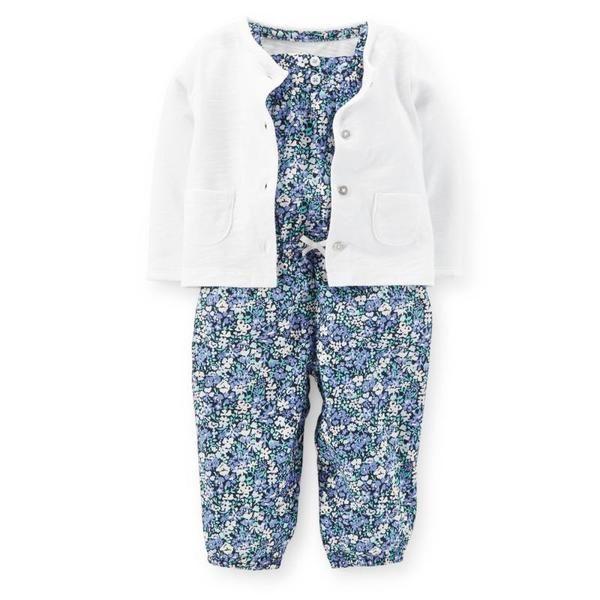 美國代購童裝Carter's/卡特2015春款小童女寶連體褲+小開衫2件組