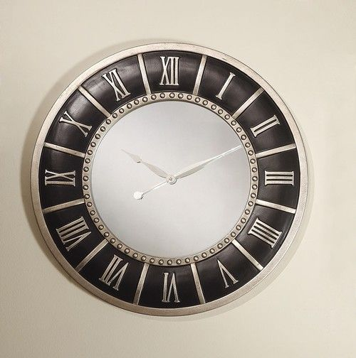 """Acme Furniture 30"""""""" Aaric Collection Silver & Black Wall Clock 97091"""