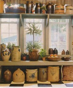 .this is a favorite pin...love the windows, the shelf, the bench, especially the crocks....everything...wish I had this in my kitchen..each time I see this pin, I have to pause and really enjoy it all over again..
