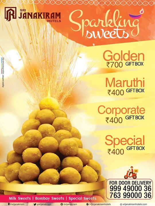 Enjoy the festival with sweets from Srijanakiram Hotels, share love and happiness with your family and friends this Diwali.  #diwali #sweet #Ladoo #crackers #gift #happiness