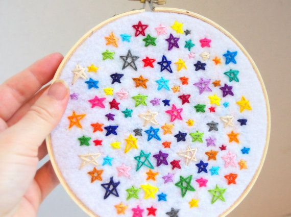 Galaxy of stars textile art hand appliqué wall art by TheHappyHoot, $40.00