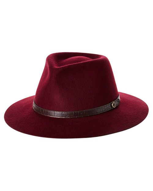 Features:womens hatsColour: WineMade of 100% Wool feltCotton inner band7.5 brim…