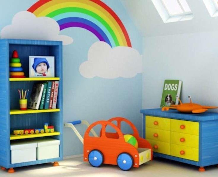Cielo con l'arcobaleno - Pareti azzurro cielo con un coloratissimo arcobaleno