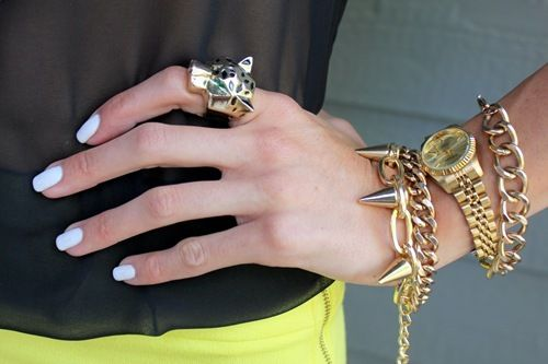 gold: Leopards Rings, Style Tracker, Accessories, Blue Nails