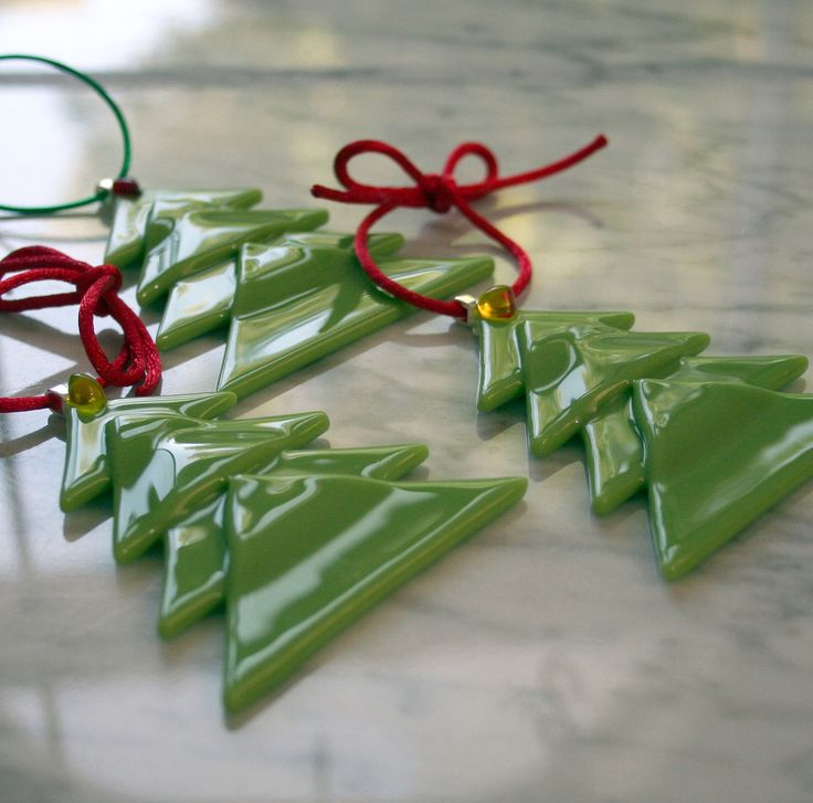 Christmas tree fused glass Christmas ornaments in amazon green,set of three. $27.00, via Etsy.