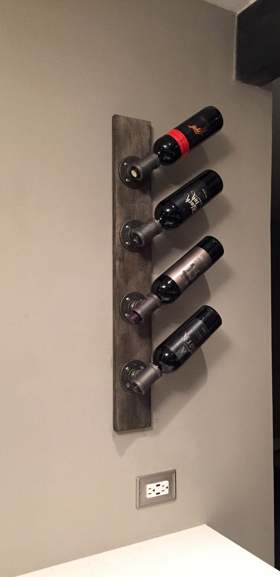 Industrial Modern Wall Wine Rack, Unique Vertical Wall Mounted, Custom Stain Wine Rack