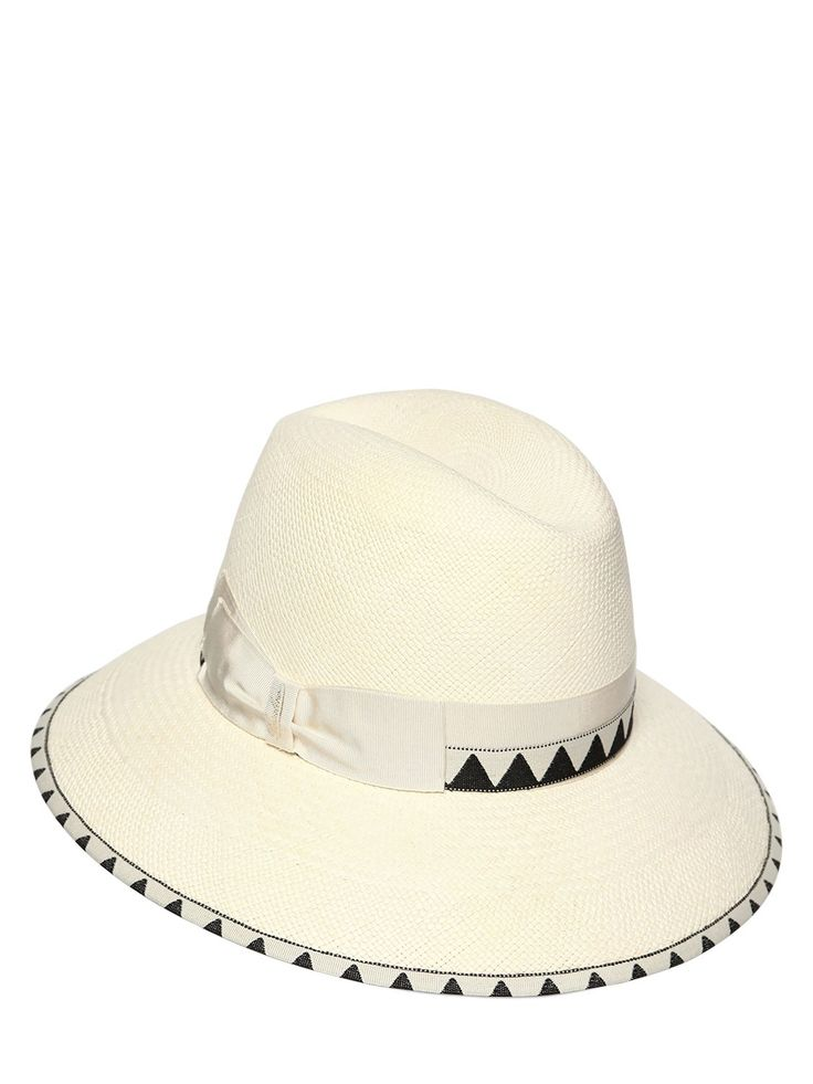 BORSALINO CLAUDETTE NAVAJO MEDIUM BRIM STRAW HAT. #borsalino #