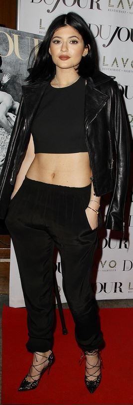 Who made Kylie Jenner's black cropped top and lace up pumps that she wore in New York
