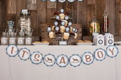 Baby Shower Decorations - IT'S A BOY Baby Shower Banner - Blue Rocking Horse Baby Shower Decorations in Blue and Brown