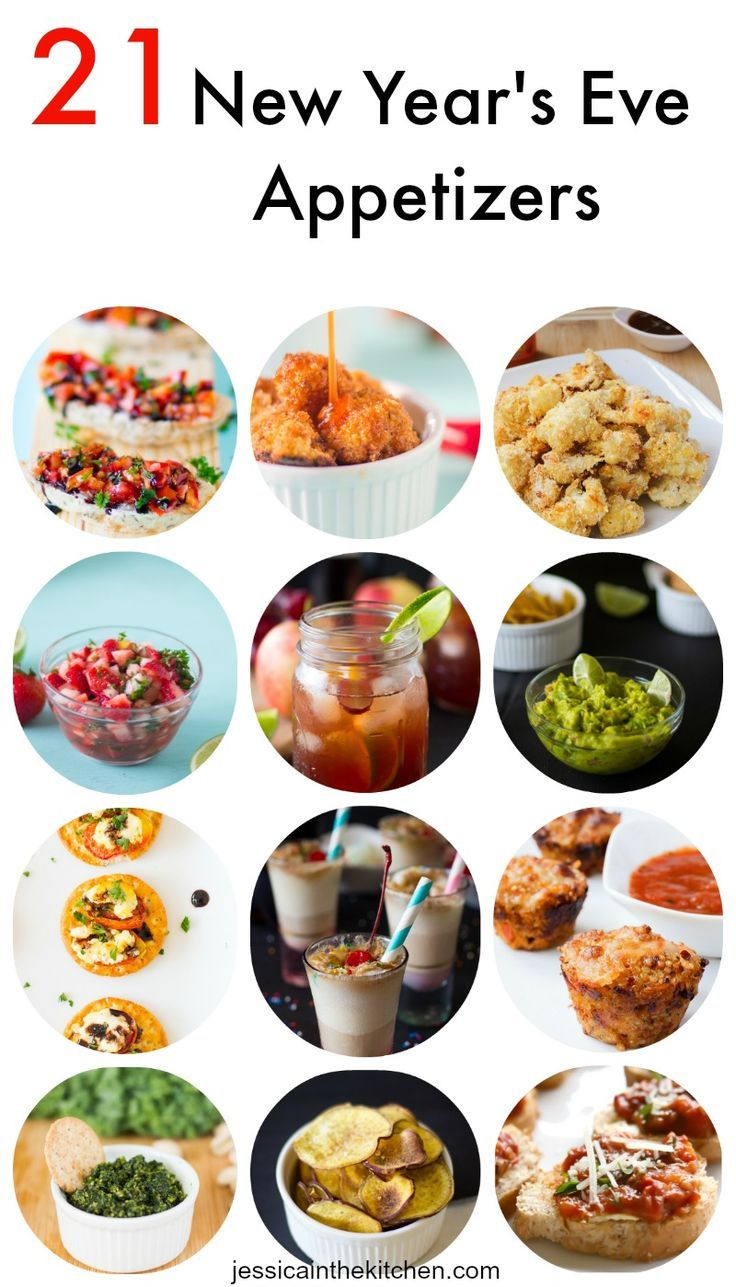 21 New Year's Eve Appetizers including drinks and dips to help you ring in the New Year!