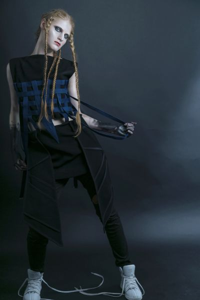 Andrada Bodea Black Dress   #fashiondesign #prototype #fashionblogger #london #ba16 #zef #zefling #fashion #futuristicfashion #postapocaliptic #strongwomen #milaalexm #mila #andrada #bodea #coat #pockets #dark #black #braids #hairstyles #lcf  #futuristic urbanwear urban