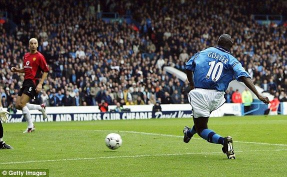 Man Utd 3 Man City 1 in Nov 2002 at Maine Road. Shaun Goater robbed Gary Neville to make it 2-1 City on 26 minutes #Prem
