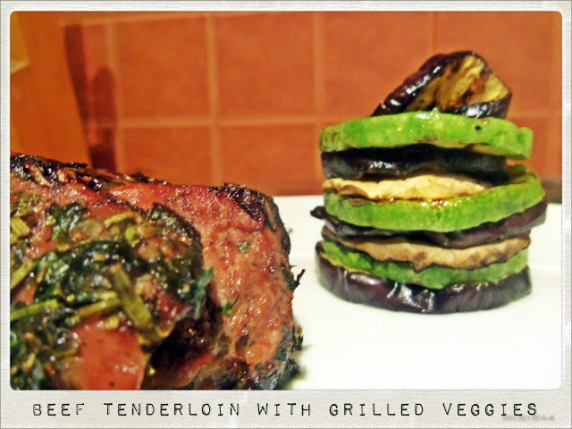 Beef Tenderloin with Herbs, Grilled Vegetables and Wine Reduction