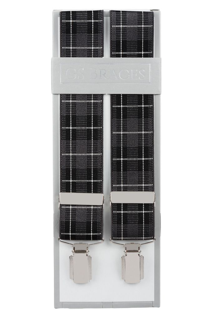 Black and Grey Tartan Trouser Braces With Silver Coloured Clips