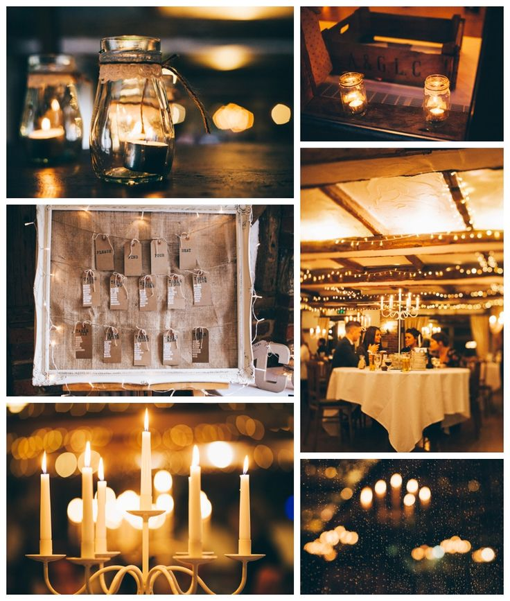 collage compilation of rustic wedding details, candles, seating plan, dining tables, fairy lights, raindrops, bokeh www.ellen-richardson-weddings.com